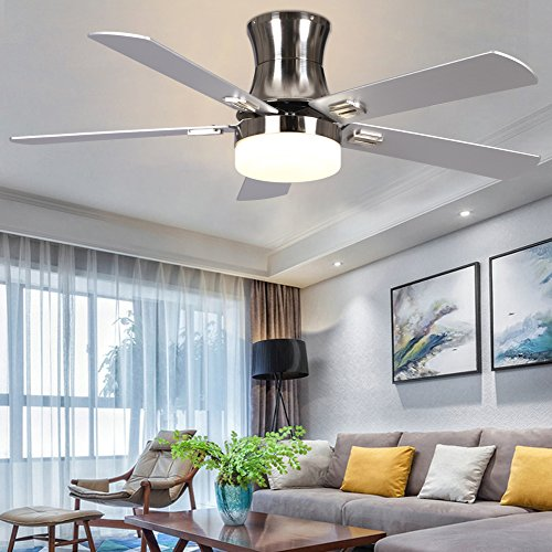 LuxureFan Indoor Flush Mount Ceiling Fan with Led Light 3 Speed Turn Light Low Profile Decoration for Modern Home/Restaurant Remote Control Mute Chandeliers of 52 Inch - 312 Ultra Flush