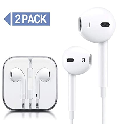 b4677096a21ba6 Amazon.com: Earbuds, New Earphones Best Headphones for 6s/6/5s/5/4s/se/5c/4/7/8/X  3.5mm Wired Microphone 2 Pack: Home Audio & Theater