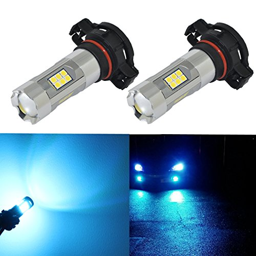 Alla Lighting 3200 Lumens Newest Version 5201 5202 LED Fog Light Bulb High Power 3030 27-SMD Extremely Super Bright LED 5201 Bulb for PS19W 5201 5202 LED Bulbs Fog Lights, 8000K Ice Blue (Set of 2)
