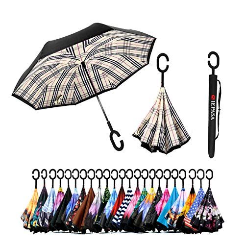 Spar. Saa Double Layer Inverted Umbrella with C-Shaped Handle, Anti-UV Waterproof Windproof Straight Umbrella for Car Rain Outdoor Use (Beige Check) (Umbrella Cheap Good)