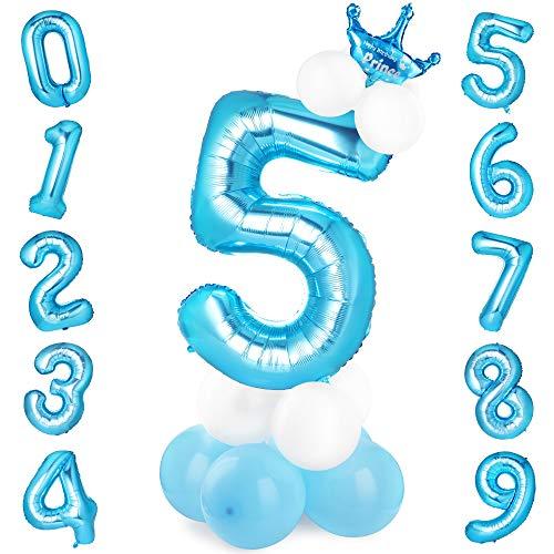 GeeRic globo numero 5, globos numeros gigantes de cumpleanos Globos de colores de latex para ninos, bautizos, decoraciones de fiesta de graduacion de bodas Azul