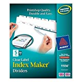 Avery Index Maker Clear Label Dividers, 8.5 x 11 Inch, 5 Tab, White Tab, 50 Sets (11556)