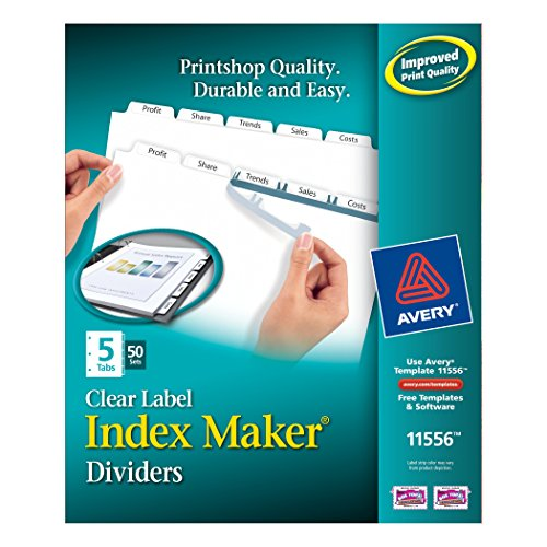 Avery Index Maker Clear Label Dividers, 8.5 x 11 Inch, 5 Tab, White Tab, 50 Sets (11556) by Avery