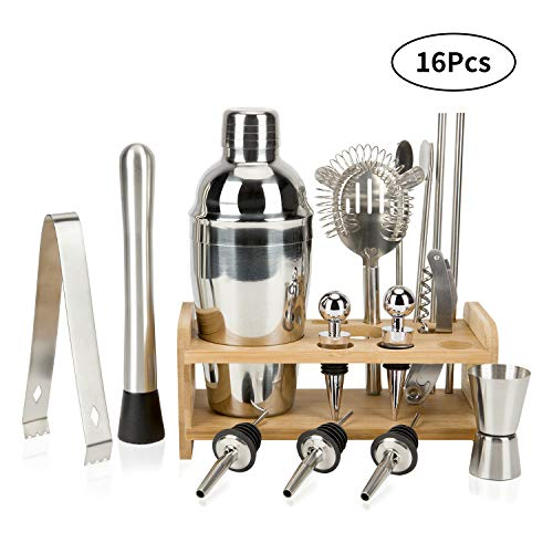 16 Piece Bartender Kit Cocktail Shaker Set, Home Bartending Kit  Bar Tools with Stand, Stainless Steel Cobbler Shaker Set Boston Shaker Set for Drink Mixing (Cocktail Shaker Set 3 Piece)