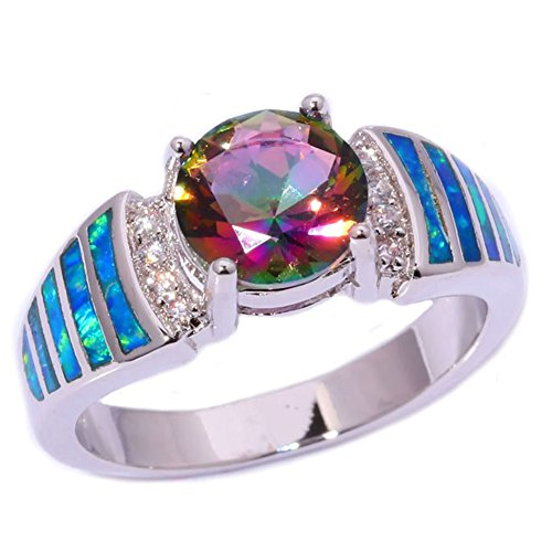 CiNily Blue Fire Opal Mystic Topaz Silver Zircon Women Jewelry Gemstone Ring Size 5-11 (10)