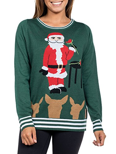 Tipsy Elves Women's Santa Rose Ceremony Sweater - Most Important Decision Of His Life Ugly Christmas Sweater: Large (Sweater Christmas Tipsy Elves)