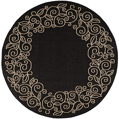 Safavieh Courtyard Collection CY5139D Black and Beige Indoor/ Outdoor Round Area Rug (6'7
