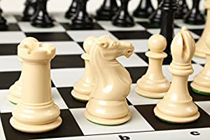 Quadruple Weight Extra Heavy Chess Pieces & Black Silicone Board Game Set