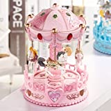 POPgifts Laxury Carousel Music Box,4-Horses Rotate and Automatic Lifting,Korea Romantic Park Design,Pink
