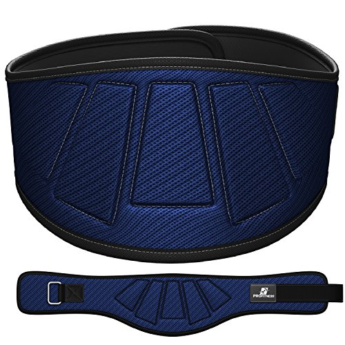 "ProFitness Neoprene Weight Lifting Belt 6"" Back Support, Perfect for Cross Training, Olympic Lifting, for Men and Women (Blue, Large, 36"" - 40"" Around Waist)"