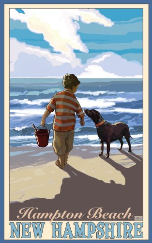 Northwest Art Mall New Hampshire Hampton Beach Boy with Dog Wall Artwork by Joanne Colman, 11 by - Mall Hampshire In New