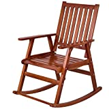 CHOOSEandBUY Indoor Outdoor Wood Single Porch Rocking Chair Garden Home Cozy Pine Wide Yard Lawn New Seat