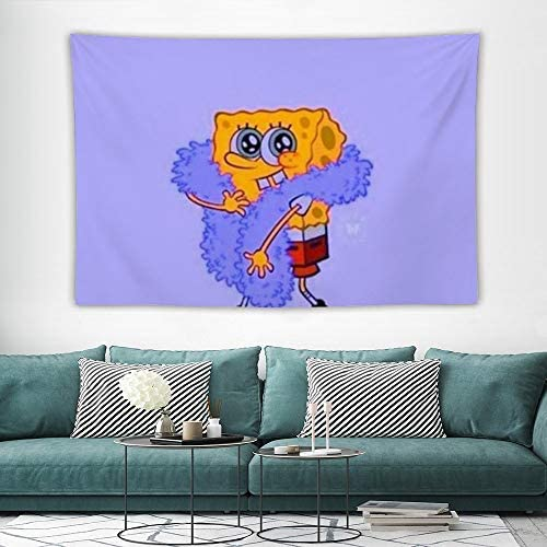 Spongebob in Space Tapestry Wall Hanging Tapestry Room Art Wall Home Bedroom Living Room Dorm Decor 59 x 39 Inch 100x150cm