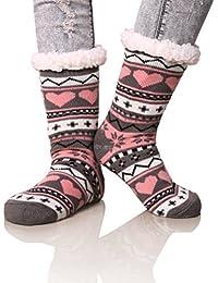 Women's Winter Snowflake Fleece Lining Knit Christmas Knee Highs Stockings Slipper Socks