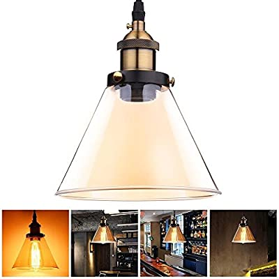 7 7/25 Inches Industrial Amber Glass Vintage Style Pendant Light Fixture Cone Shade Hanging Ceiling Lamp w/ Copper Base for Décor Outdoor Home Indoor Lighting