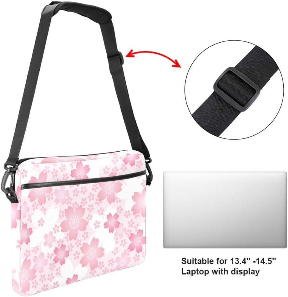 Cherry Blossom PatternLaptop Case Canvas Pattern Briefcase Sleeve Laptop Shoulder Messenger Bag Case Sleeve for 13.4-14.5 inch Apple Laptop Briefcase