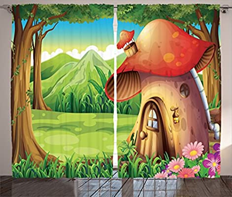Pink Green Red Purple p/_12107/_Mushroom/_04.29/_108x84 Frog Near The House Animal Ills Kids Children Bedtime Story Art Forest Decorations Party 108 X 84 Inches Living Room Bedroom 2 Panels Set Ambesonne Girls Curtains Mushroom