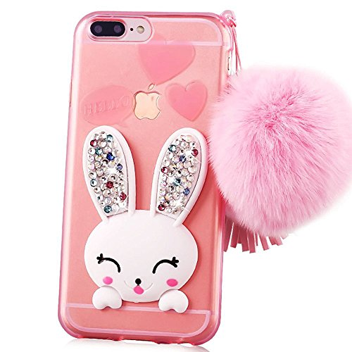 Crystal Eye Bunny (Iphone 7 plus case, Sunroyal Slim Soft Transparent TPU Crystal Clear 3D Cute Cartoon Rabbit [Bling Diamond Silicon Ear] Case with Hairball Pompon Wrist Strap Wristlet For iPhone 7 Plus 5.5