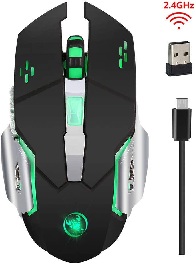 Desktop DZ-YJQ Wireless Gaming Mouse,2.4G Optical Mouse Colorful LED Lights with Receiver,600Mah Lithium Battery for PC Laptop