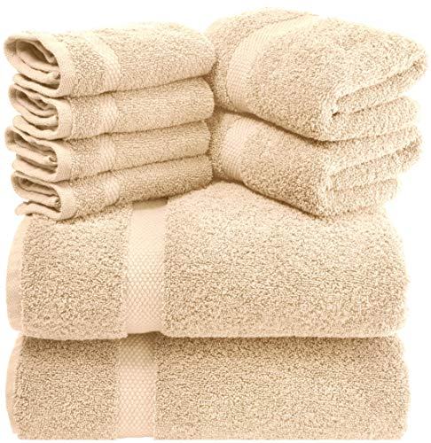 White Classic Luxury Beige Bath Towel Set – Combed Cotton Hotel Quality Absorbent 8 Piece Towels | 2 Bath Towels | 2 Hand Towels | 4 Washcloths [Worth $72.95] 8 Pack | Beige
