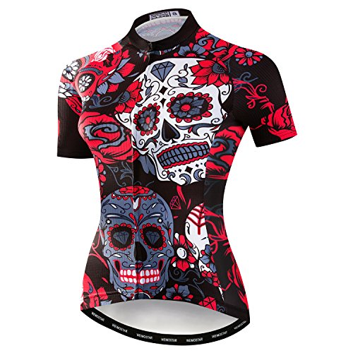 - Weimostar Women's Cycling Jersey Bike Shirts Short Sleeve Ladies Bicycle Clothing MTB Cycle Jacket Skull Black Red Size L