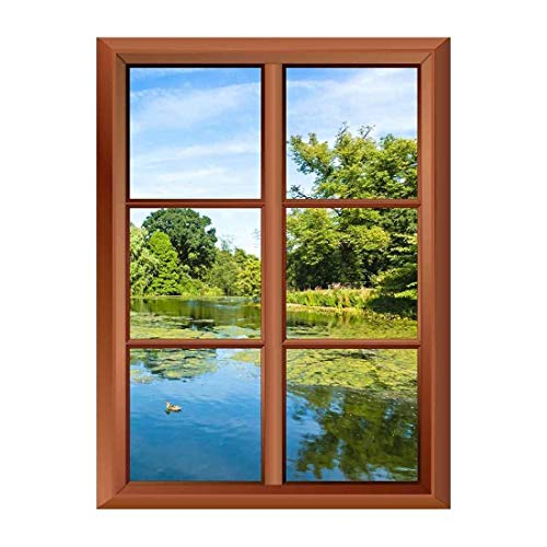 Removable Wall Sticker Wall Mural Lush Green Woodland Park Reflecting in Tranquil Pond in Sunshine Creative Window View Vinyl Sticker