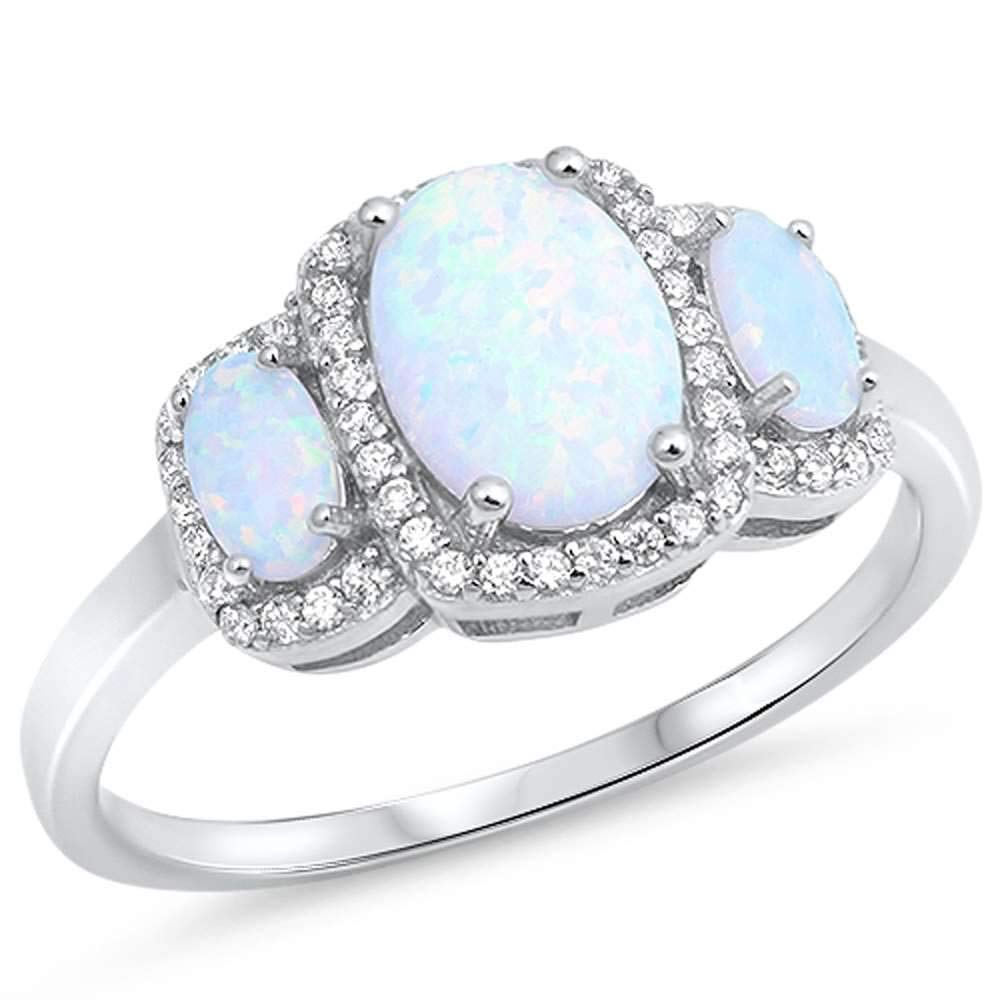 Princess Kylie Three Synthetic Blue Opal Cubic Zirconia Oval Ring Sterling Silver