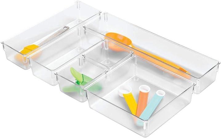 iDesign Cajas organizadoras para dividir cajones, separadores de cajones pequeños de plástico, juego de 6 divisores de cajones de diferentes tamaños, transparente: Amazon.es: Hogar