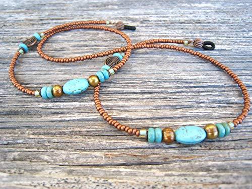 Imitation-Turquoise Copper Beaded Eyeglass Chain Handmade