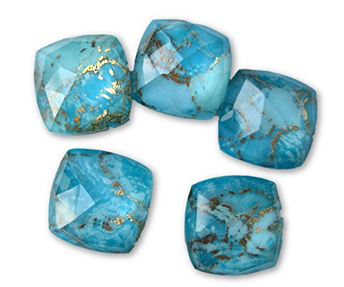 4 Pieces Blue Copper Turquoise Doublet Flat Back Gemstone Cabochon, GDS1048/11 (10x10x5mm,3.56gms(Cushion)) (Turquoise Doublet)