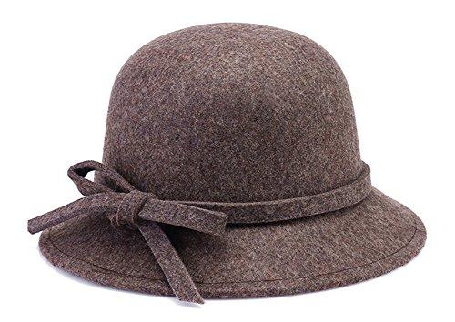 e0ef3420faa Roffatide Women s Woolen Bucket Hat Cloche Top Hat with Bowtie Winter  Bowler Hat Brown