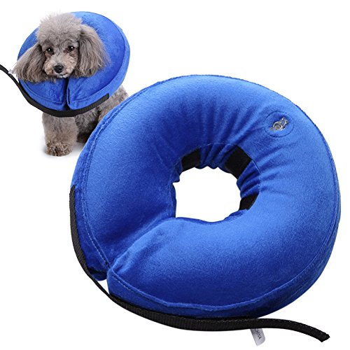 Yinrunx Inflatable Pet Collars Small Medium Large Dog Zipper Plush PVC Adjustable Anti-bite Wound Healing Protective Neck Ring Supplies by Yinrunx