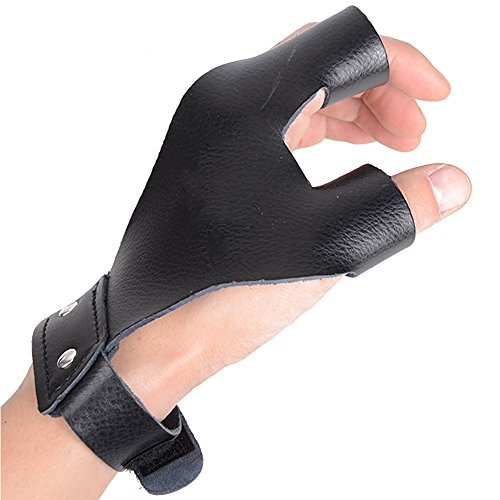 XTACER Left Hand Guard Leather Glove Archery Finger Protector Traditional Shooting Glove Fits for Hunting Recurve Bow (Black, (Archery Shooting Glove)