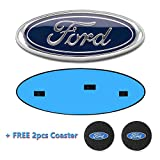 "Automotive : Ford F150 Front Grille Tailgate Emblem, Oval 9""X3.5"", Blue Ford Emblem Decal Badge Nameplate Fits for 04-14 F250 F350, 11-14 Edge, 11-16 Explorer, 06-11 Ranger, 07-11 Expedition"
