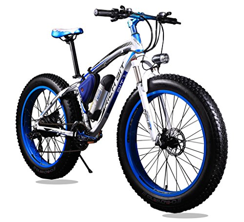 KINGTTU® Elektrofahrräder Mountainbikes Cruiser Mens -Fahrrad Weiß Blau Strand-Fat Tire-Fahrrad Shimano 21-Geschwindigkeiten Fat Tire 4,0 Zoll Federgabel Richbit RT-012 neu aktualisiert