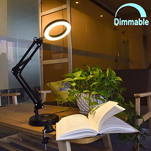 Flexible Arm Desk Lamp, Dimmable LED Work Desk Lamps-6W, Clamp-on Desk Light, Eye-Care Soft Light, Reading Lamp, Bedroom Lamps, Multi-Joint Adjustable Arm Desk lamp, Black Painted with Metal Clamp (Mount Shadow Quick)