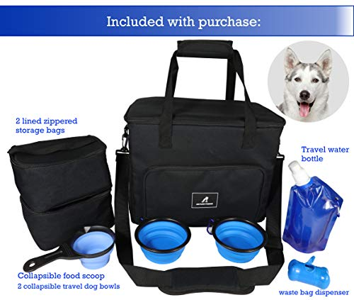 A2Z Furry Friends Travel Bag for Dog and Cat: Weekend Tote. Organizer Bag. Carrier for Pet Accessories. Airline Approved. Comes with 2 Collapsible Bowls and ()