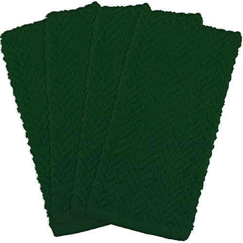 DII 100% Cotton, Everyday Kitchen Basic, Heavy Duty Bar Mop, Drying & Cleaning, 16 x 28 Zig Zag Weave Dishtowel, Set of 4- Dark Green