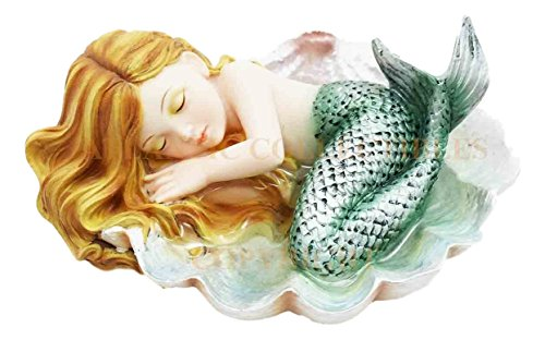 Ebros Under The Sea Baby Mermaid Sleeping On Oyster Shell Figurine Iridescent Green Tailed Mermaid Baby Sculpture (Mermaid Sculptures)