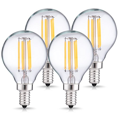 DORESshop LED Candelabra Globe Light Bulbs, Dimmable LED Filament Bulb, 4W (40W Equivalent), Daylight White 4000K, 400LM, E12 Small Base, Globe Light Bulbs for Decorative Home Lighting (4-Pack)