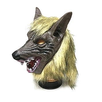 Tinksky Creepy Lobo cabeza máscara de látex Teatro Prank Prop Crazy Máscaras traje de Halloween para