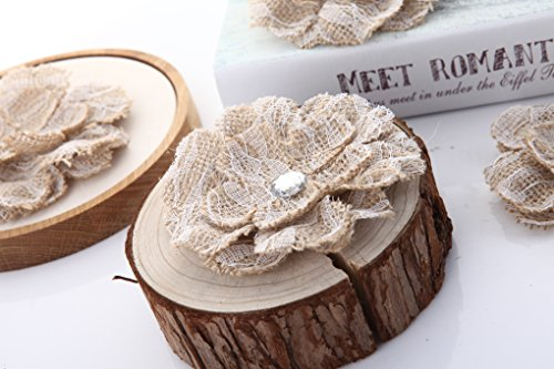 Handmade Burlap Flowers with Lace Craft YW (Pack of 12) (Style 6)