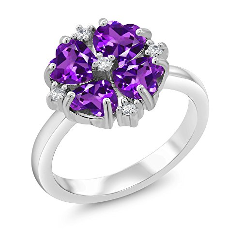 1.68 Ct Heart Shape Purple Amethyst 925 Sterling Silver Fashion Right-Hand Ring (Ring Size 7) -