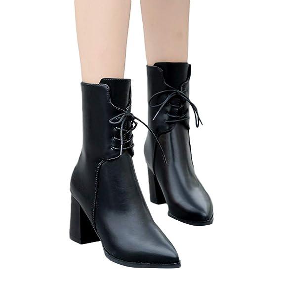 Viernes Negro JiaMeng British Viento Chelsea Botas Zapatos Retro con Borla Botas Navidad de tacón Alto con Punta de Cuero y Punta Estrecha: Amazon.es: Ropa ...
