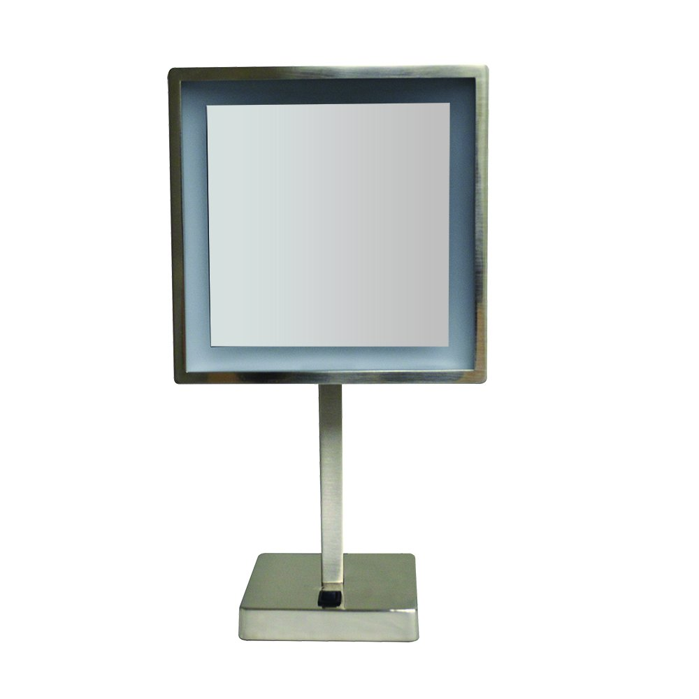 Whitehaus Collection WHMR295-BN Whitehaus Mirrors Square Freestanding LED 5X Magnified, Brushed Nickel by Whitehaus Collection (Image #1)
