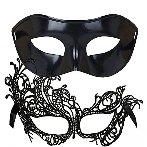 IDOXE US Size Masquerade Mask for Couples Sexy Venetian Halloween Costume (Swan Set) -