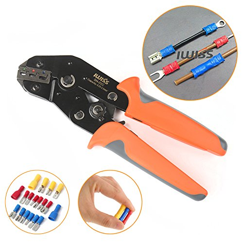 Iwiss SN-02C Ratcheting Wire Crimping Plier Tools for Insulted Terminals and Butt Connectors Crimper (Crimping Ratcheting Tool)