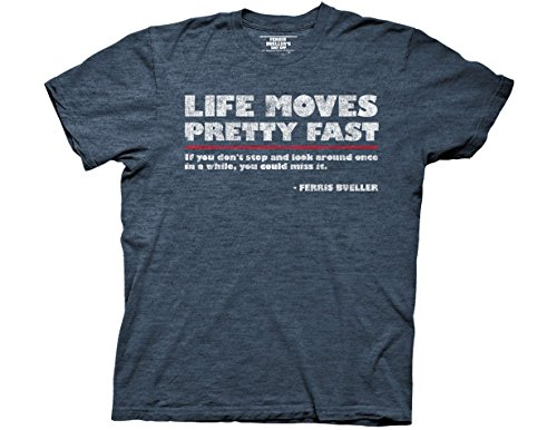 Free Ripple Junction Ferris Bueller's Day Off Life Moves Quote Adult T-Shirt Large Heather Navy