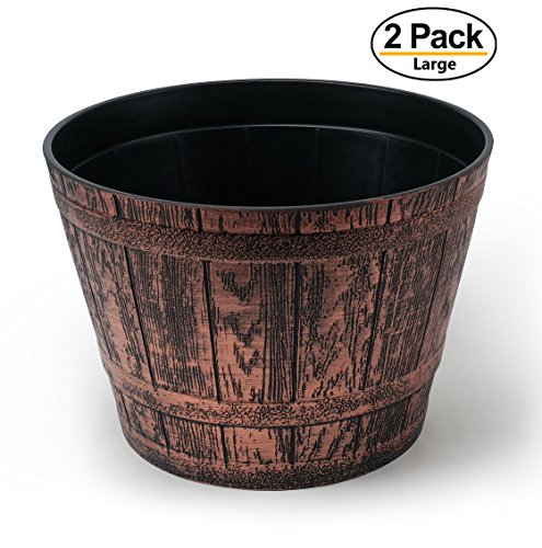 Extra Large Fancy Whiskey Barrel Victorian Rustic Look Flower Pot/Planter for Nursery Indoor, Outdoor, Garden Patio Office Ornaments Home Decor Use Long Lasting Reusable Light Weight (Copper-XL)