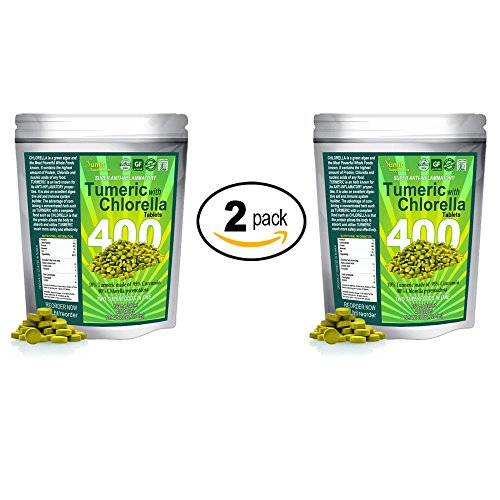 Sunlit Chlorella w Turmeric Tablets. Cracked Cell, Superfood supplement combines Organic raw non-GMO Chlorella Pyrensoidosa with Turmeric root 95 Concentrated Curcumin . No fillers no preservatives.